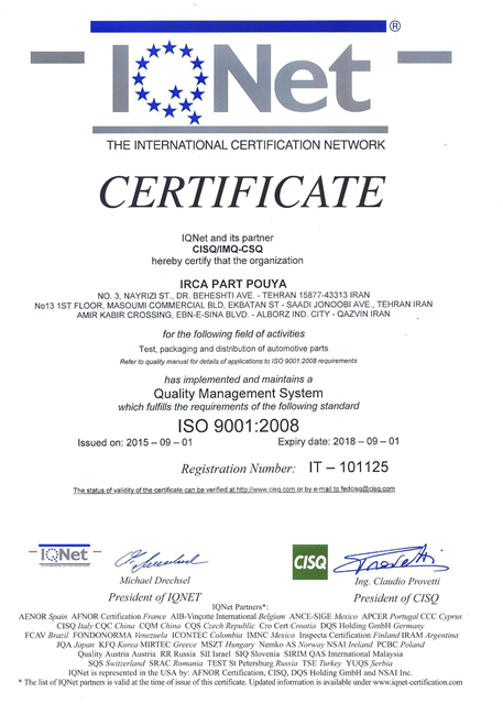 IQNET CERTIFICATE – ISO 9001 : 2008
