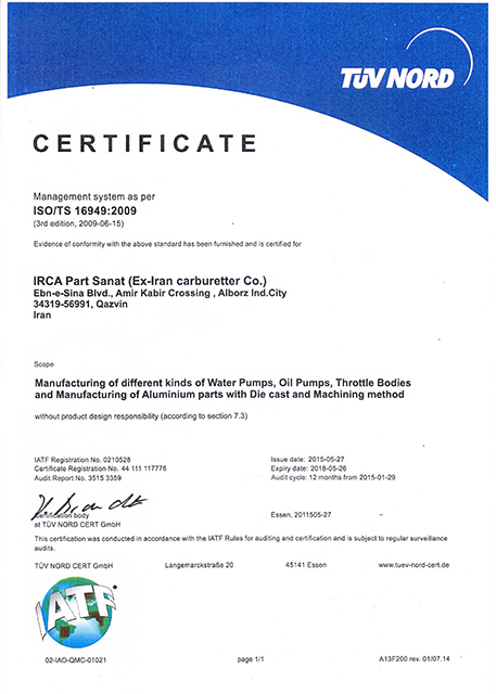 TUV NORD CERTIFICATE – ISO/TS 16949 :2009