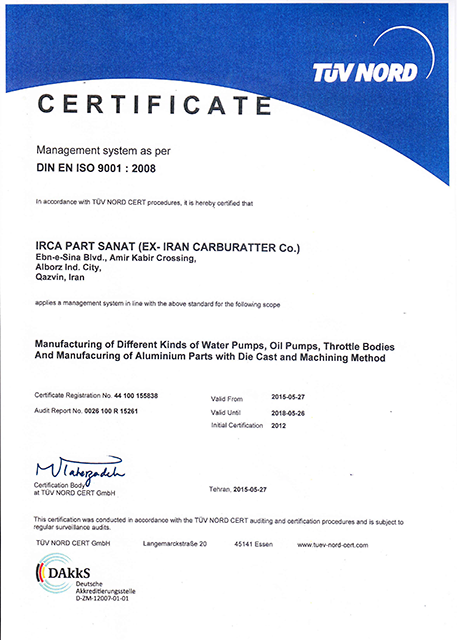 TUV NORD CERTIFICATE – ISO 9001 :2008